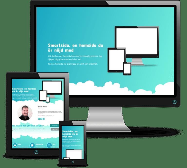 Vår hemsida visad på dator, padda och mobil